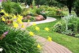 Garden with brick pathway