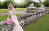 Bride, girl, flowers, nature, smile, dress, wedding, bouquet