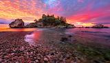 Sea-beach-island-rocks-stones-red sunset-colorful-landscape