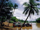 Boats at shore Sangker River Battambang Cambodia