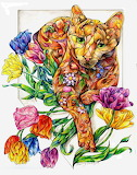 ^ Spring Cat with Tulips ~ Sherry Shipley