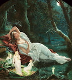 Titania sleeping in the moonlight protected by he