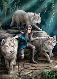 girl with wolves