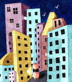 Childrens illustration dog in the city 2
