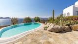 Luxury Greek island sea and mountain view villa and pool