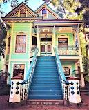 Multi color victorian house