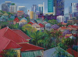 Robyn Bauer Brisbane cityscape city art painting Queenslander ho
