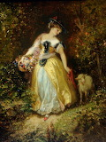 'Girl with a lamb' by Henri Charles Antoine Baron