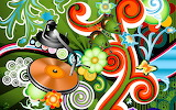 Abstract, music, flowers, colorful