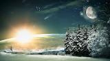 Luna zvezdy noch fantastika peyzazh zhivopis iskusstvo les zima