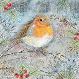 Robin in winter scenery by Anne Mortimer