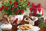 Flowers, table, chocolate, roses, bouquet, cookies, Christmas, c