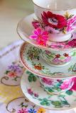 Colorful Flower Tea Cups