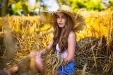 Girl, hat, sitting, wheat field