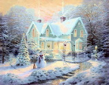 Cottage in the snow-painting-Thomas-Kinkade