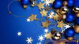 Christmas-decorations-stars-gold & blue ornaments