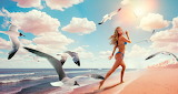 Woman, bikini, fear, escape, seagulls, bird, animal, beach, sea