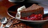 Slice, chocolate cake, cream, jam