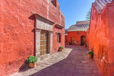 Convent, walls, doors, roofs, alley, stones, flowers, Peru