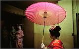 Geisha with pink parasol