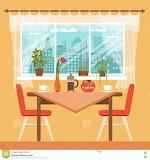 Mesa-de-comedor-con-las-sillas-y-las-tazas-de-café-81896245