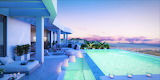 Ultra modern luxury villa and pool at sunset