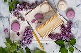 Style, pen, book, still life, lilac, twigs, macaroon, flowers