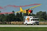 Jelly Belly Airplane landing on vehicle speeding down runway