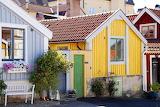 Wooden cottages, village, bench, color
