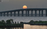 Mississippi Bridge moon sunset