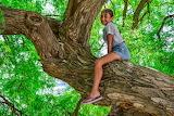 teenage girl on a tree