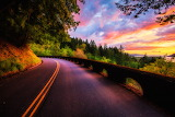 Columbia River Gorge Road at Sunset