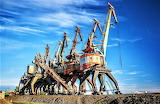 Rusting cranes Russia