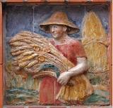 Moissonneuse sur un carreau de céramique à Orléans (Loiret)