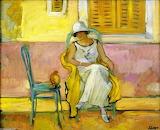Henri Lebasque, Femme dans une robe blanche, 1923