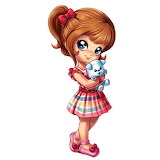 Girl and stuffed dog toy