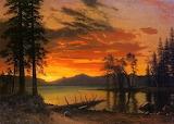 Sunset Over River-Albert Bierstadt