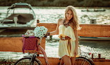 Girl, flowers, bike, basket, river, shore, bouquet, toy, boat, b