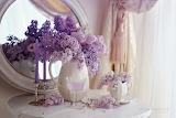 Flowers, candles, mirror, lilac, cup, glass, window, curtain