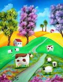 ^ Gordon Bruce ~ Sheep Cows Naive Painting