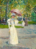 Frederick Childe Hassam - Woman with a Parasol in a Park
