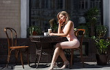 Girl, bistro, cup, chair, table, high heels, sitting, plant, out