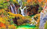 Waterfalls, stream, rocks, vegetation, autumn, landscape
