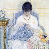 Frederick Carl Frieseke, Girl Sewing, 1914