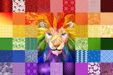 Collage 302 rainbow lion