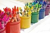 Rainbow row of crayons