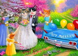 Cats, wedding, car, balloons, flowers, spring, painting, by Voth