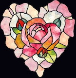 Pink rose stained glass heart
