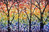 original-modern-rainbow-trees-painting