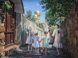 children walking down the street